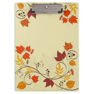 Autumn Leaf Vines with Customizable Text Clipboard
