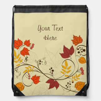 Autumn Leaf Vines with Customizable Text Drawstring Backpack