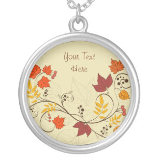 Autumn Leaf Vines with Customizable Text Pendant