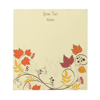 Autumn Leaf Vines with Customizable Text Note Pad