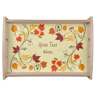 Autumn Leaf Vines with Customizable Text Food Trays