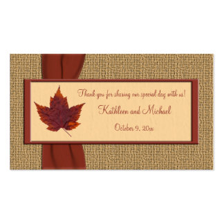 Autumn Leaf Wedding Favor Tag Double-Sided Standard Business Cards (Pack Of 100)