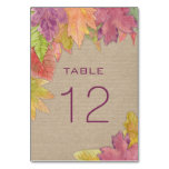 Autumn Leaf Wedding Reception table number 3973