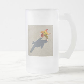 Autumn Leaf with Shadow Glass Frosted Glass Beer Mug