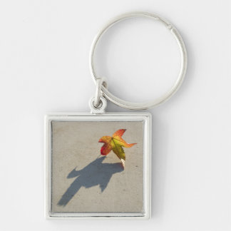 Autumn Leaf with Shadow Silver-Colored Square Keychain