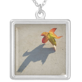 Autumn Leaf with Shadow Square Pendant Necklace