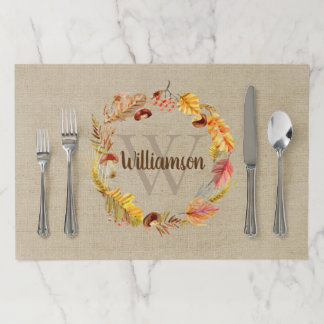 Autumn Leaf Wreath Custom Monogram Thanksgiving Paper Placemat