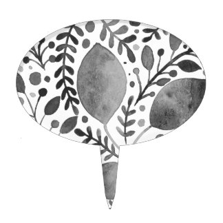 Autumn leafs - black and white cake topper