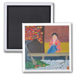 Autumn leaves 2 inch square magnet