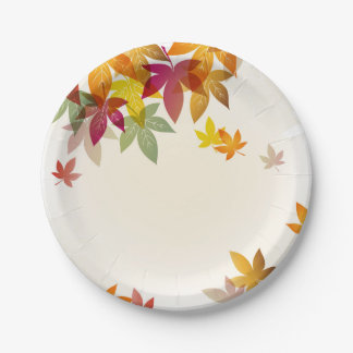 "Autumn Leaves 7"" Paper Plates"