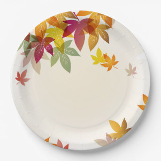 "Autumn Leaves 9"" Paper Plates"