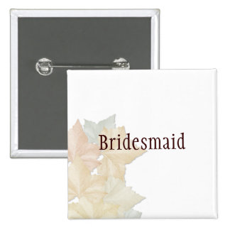 Autumn Leaves, A Fall Wedding Badge Name Tag 2 Inch Square Button