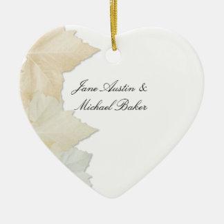 Autumn Leaves, A Fall Wedding Romantic Heart Christmas Ornament