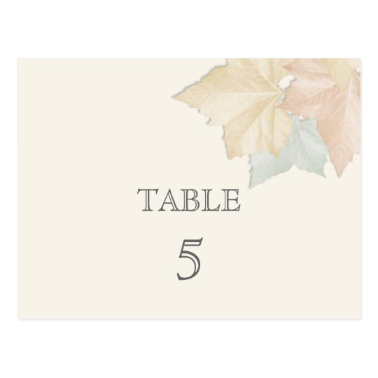 Autumn Leaves, A Fall Wedding Table Number Card