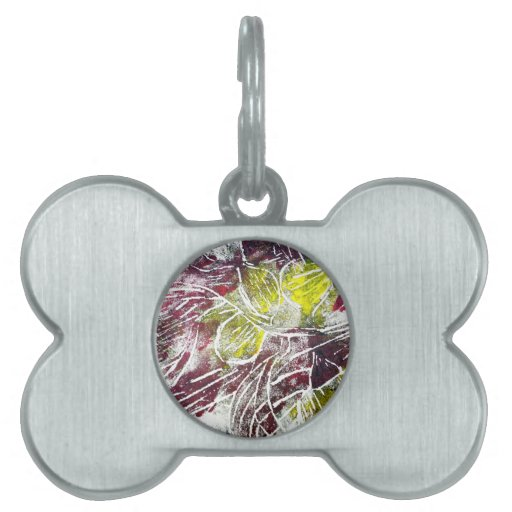 Autumn Leaves. Abstract in Red and Yellow. Pet Tags