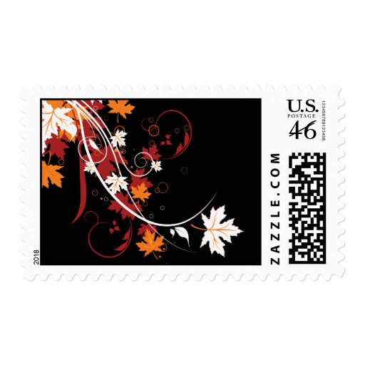 Autumn Leaves Abstract Postage Stamp