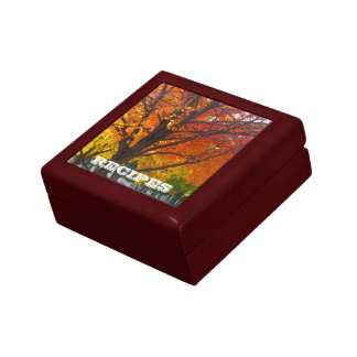 Autumn Leaves Abstract Recipe Gift Box