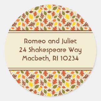 Autumn Leaves Address Label on Cream Classic Round Sticker
