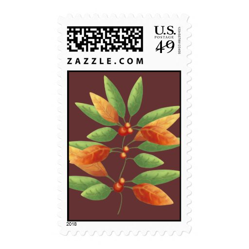 Autumn Leaves and Berries Postage Stamp