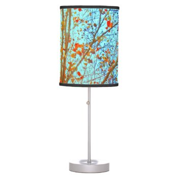 Autumn Leaves And Blue Sky Table Lamp by RainbowChild_Art at Zazzle