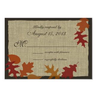 Autumn Leaves and Burlap RSVP 3.5x5 Paper Invitation Card