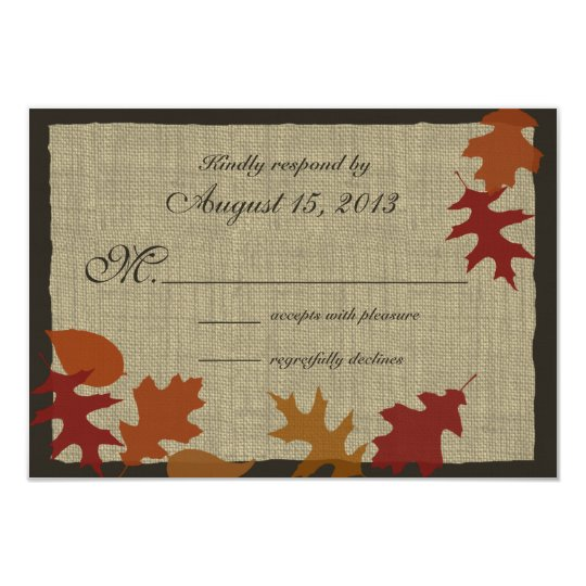 Autumn Leaves and Burlap RSVP Card