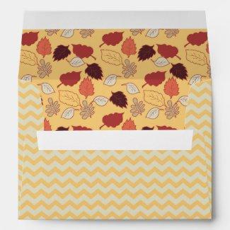 Autumn Leaves and Chevron Stripes Envelope