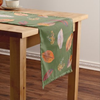 Autumn Leaves and Dried Hydrangea Table Runner