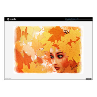 "Autumn leaves and girl 15"" laptop skins"