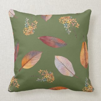 Autumn Leaves and Hydrangea Natural Pillow 20x20