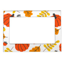 Autumn Leaves and pumpkins Magnetic Picture Frame