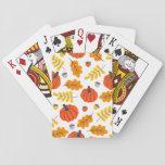 """Autumn Leaves and pumpkins Playing Cards<br><div class=""""desc"""">Perfect for all your autumn and Thanksgiving needs. This fun seasonal design features pumpkins,  leaves and acorns in varying shades of orange against a white background.</div>"""