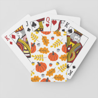 Autumn Leaves and pumpkins Playing Cards