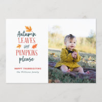 Autumn Leaves and Pumpkins Please Photo Card
