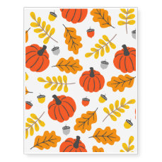 Autumn Leaves and pumpkins Temporary Tattoos