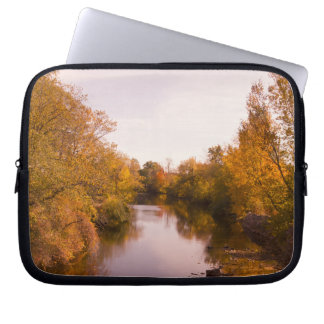 Autumn Leaves and River Photo Laptop Sleeve