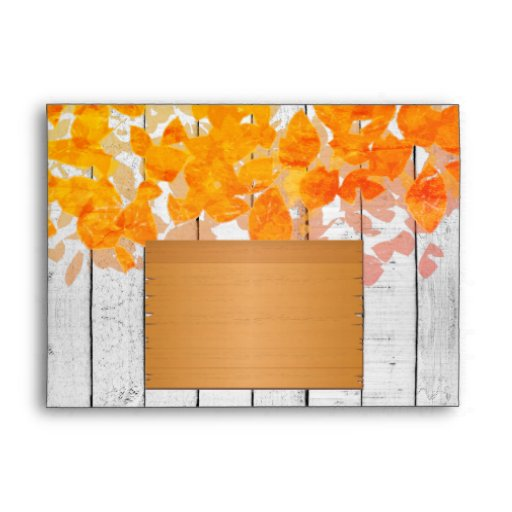 Autumn Leaves and Rustic Fence Envelope