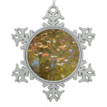 Autumn Leaves and Stream Reflection at Greenbelt Snowflake Pewter Christmas Ornament