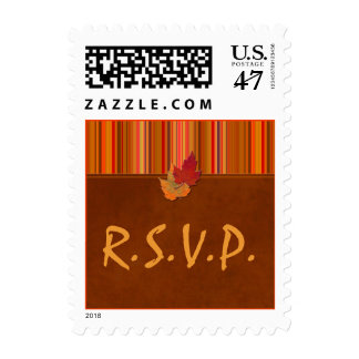 Autumn Leaves and Stripes Wedding RSVP Postage