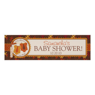 Autumn Leaves and Twin Ties Baby Shower Banner Poster