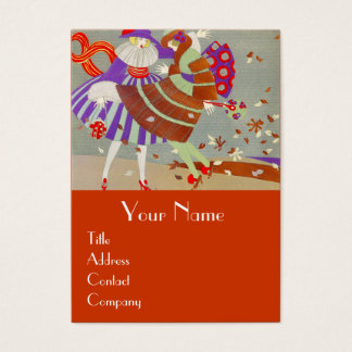 AUTUMN LEAVES AND WIND / FASHION COSTUME DESIGNER BUSINESS CARD