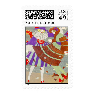 AUTUMN LEAVES AND WIND / FASHION COSTUME DESIGNER POSTAGE STAMP