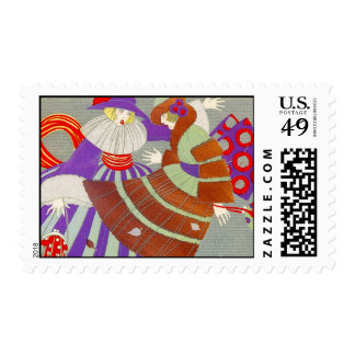 AUTUMN LEAVES AND WIND / FASHION COSTUME DESIGNER POSTAGE STAMPS