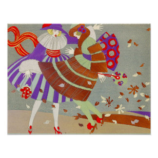 AUTUMN LEAVES AND WIND / FASHION COSTUME DESIGNER POSTER
