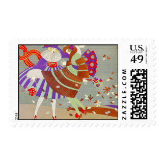 AUTUMN LEAVES AND WIND / FASHION COSTUME DESIGNER STAMP