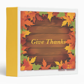 Autumn Leaves and Wood Boards Vinyl Binder