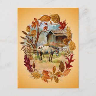 AUTUMN LEAVES & APPALOOSA by SHARON SHARPE postcard