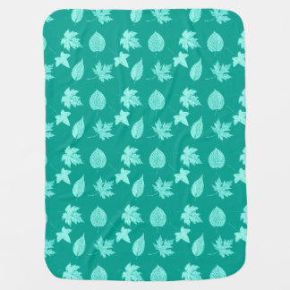 Autumn leaves - aqua and turquoise stroller blanket