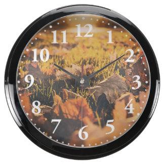 Autumn leaves fish tank clock
