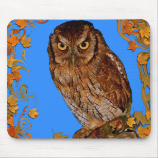 Autumn Leaves Are Falling All Around With Hoot Owl Mouse Pad